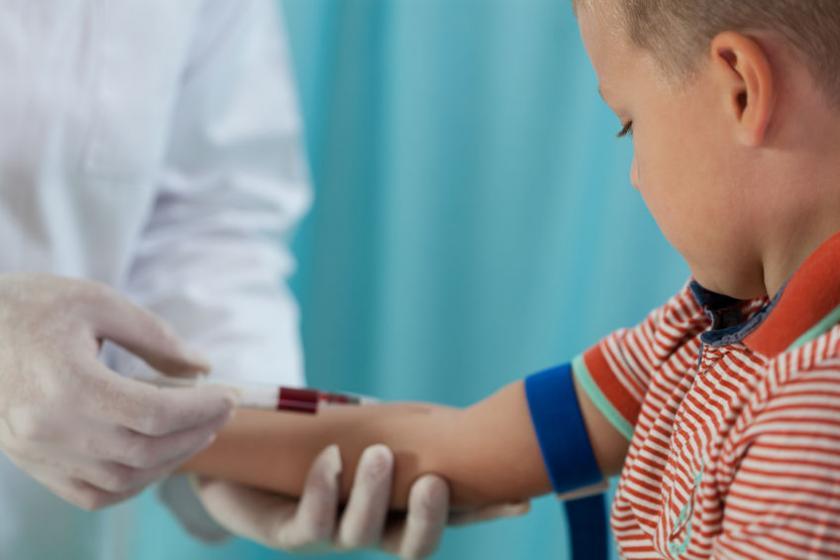 Ребенок во время сбора крови